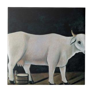 Niko Pirosmani著黒い背景の白い牛 タイル