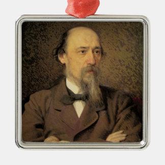 Nikolay Alekseyevich Nekrasov 1877年のポートレート メタルオーナメント