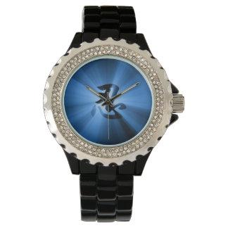 NINの漢字のブルースターの破烈の黒いエナメルの腕時計 腕時計