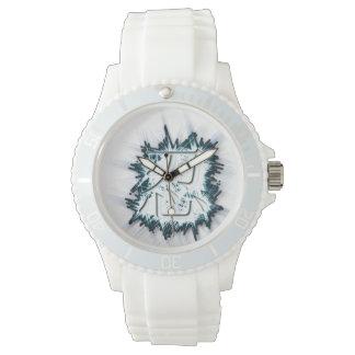 """NINの漢字""""破烈する""""氷のスポーティで白い腕時計 腕時計"""