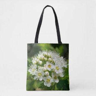 Ninebarkの白い野生の花の花のトートバック トートバッグ