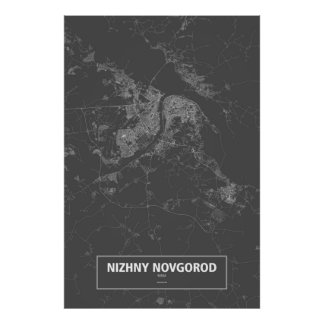 Nizhny Novgorod, Russia (white on black) ポスター