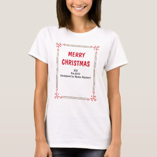 Njokuの「メリークリスマス」の女性のTシャツ Tシャツ