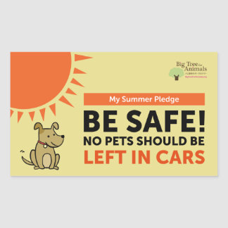 No Pets Should Be Left In Cars - My Summer Pledge 長方形シール