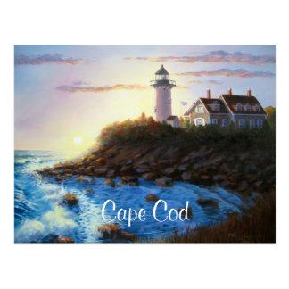 Nobskaの灯台ケープコッドMAの絵画の郵便はがき ポストカード