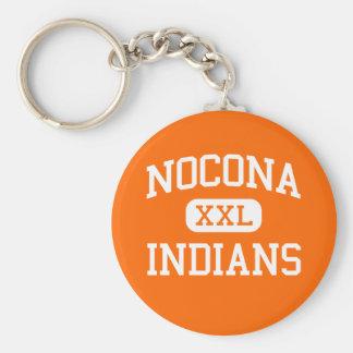 Nocona -インディアン-高等学校- Noconaテキサス州 ベーシック丸型缶キーホルダー