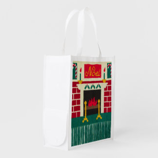 Noelのクリスマスの煉瓦暖炉のかぎ針編みのプリント エコバッグ
