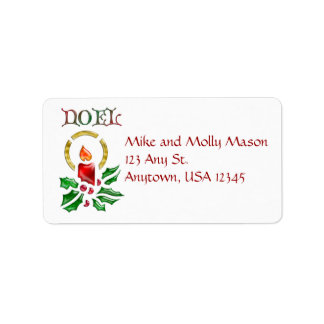 Noelのクリスマスの蝋燭の宛名ラベル ラベル
