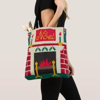 Noelのクリスマス色の煉瓦暖炉のかぎ針編み トートバッグ