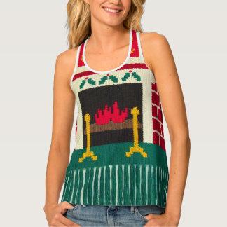 Noelのクリスマス色の煉瓦暖炉のベストのかぎ針編み タンクトップ
