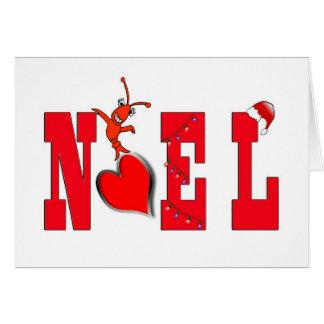 NoelのハートのかわいいCrawfishかロブスターカード カード