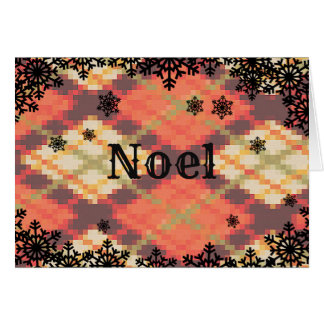 Noel Christmas card with snowflake border カード