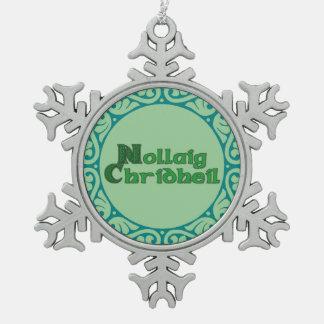 Nollaig Chridheil -スコットランドのクリスマスのオーナメント スノーフレークピューターオーナメント