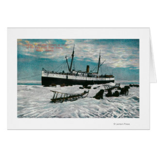 Nome、氷の端の汽船のアラスカの眺め カード