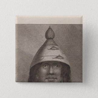 Nootkaの女性、ブリティッシュ・コロンビア 5.1cm 正方形バッジ