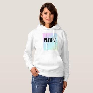 Nopeのスローガンのパステル調のプリントの白のフード付きスウェットシャツ パーカ