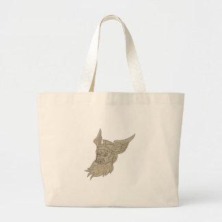 Norseの神のOdinのヘッドスケッチ ラージトートバッグ