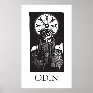 Norseの神Odinおよび車輪の記号 ポスター