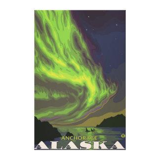 Northern Lightsおよびシャチ-アンカレッジ、アラスカ キャンバスプリント