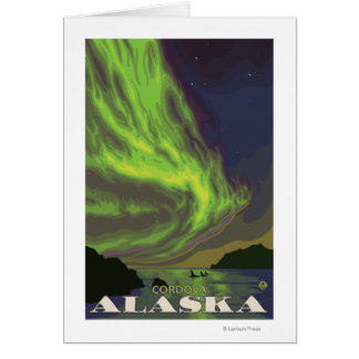 Northern Lightsおよびシャチ- Cordova、アラスカ カード