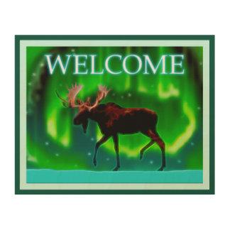 Northern Lightsのアメリカヘラジカ-歓迎 ウッドウォールアート