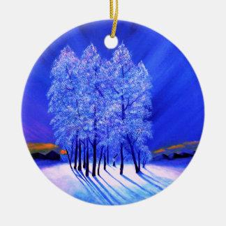 Northern Lightsのクリスマスの雪の木 セラミックオーナメント