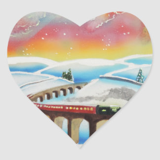 Northern Lightsの列車の風景画 ハートシール