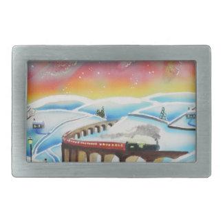Northern Lightsの列車の風景画 長方形ベルトバックル