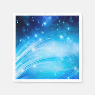 Northern Lightsは青を主演します + あなたの文字及びアイディア スタンダードカクテルナプキン