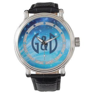 Northern Lightsは青を主演します + あなたの文字及びアイディア 腕時計