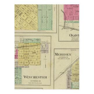 Nortonville、Osawkie、ウィンチェスター、カンザス ポストカード