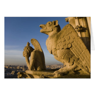 Notre Dameのカテドラルの正面のキメラ、 カード