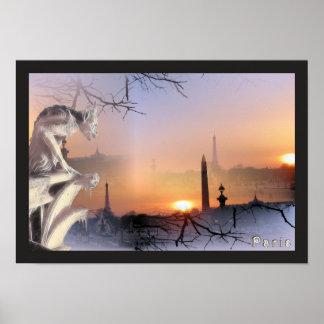 Notre Dameのプリントの銀製のガーゴイル ポスター