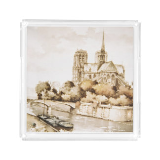 「Notre Dameカテドラル」のイメージのアクリルの皿 アクリルトレー