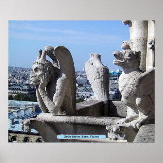 Notre Dame、パリ、フランス ポスター