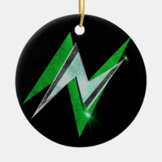 Nuの稲妻の円形のぶら下がったなオーナメント(緑) セラミックオーナメント