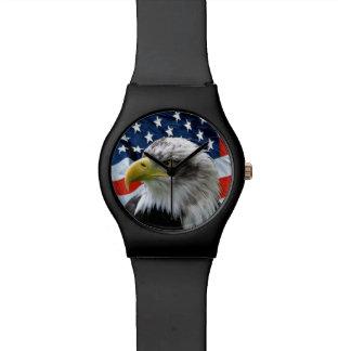 Numberless白頭鷲の米国旗の腕時計 腕時計