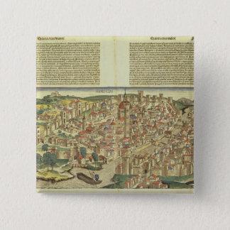 Nureからのフィレンツェ囲まれた市の眺め、 5.1cm 正方形バッジ