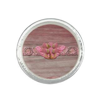 NYのピンクの素朴なユリ 指輪