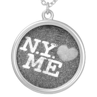 NYは私をネックレス愛します シルバープレートネックレス