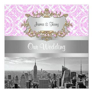 NY都市スカイラインBW D4Pのピンクの白いダマスク織 カード