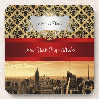 NY|都市|スカイライン|セピア色|B4|ダマスク織|コースター ビバレッジコースター