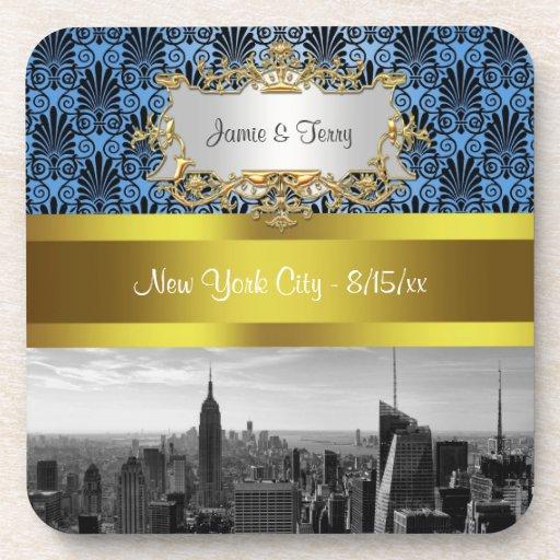 NY|都市|スカイライン|BW|黒|BlueDeco|ダマスク織|Inv|続き ドリンクコースター