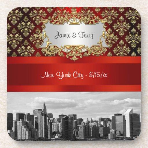 NY|都市|スカイライン|ER|BW|ダマスク織|-|エベント|コースター ドリンクコースター