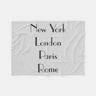 NY/London/Paris/Rome フリースブランケット