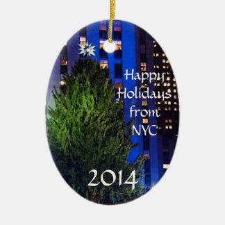 NYCのクリスマスツリーのオーナメントからの幸せな休日 セラミックオーナメント