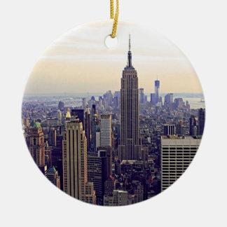 NYCのスカイラインのエンパイア・ステート・ビルディング、WTC 4 セラミックオーナメント