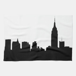 NYCのスカイラインのシルエット、帝国国家Bldg #1 キッチンタオル