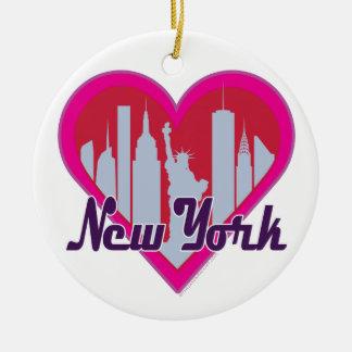 NYCのスカイラインのハート セラミックオーナメント