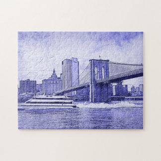 NYCのスカイラインのブルックリン橋のボートは一見#2をエッチングしました ジグソーパズル